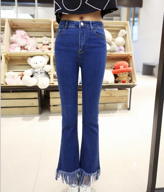 gran venta 6c472 c2976 € 29.0 |Aliexpress.com: Comprar Pantalones vaqueros de cintura con flecos  con bordes irregulares para mujer de denim pants fiable proveedores en ...
