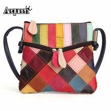 AEQUEEN Frühling Patchwork Umhängetaschen Frauen Vintage Umhängetasche Kleine Echtem Leder Messenger Bags Zufällige Farbe