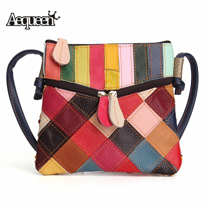 1203233d3154 Detail Feedback Questions about AEQUEEN Spring Patchwork Crossbody Bags  Women Vintage Shoulder Bag Small Genuine Leather Messenger Bags Random Color  on ...