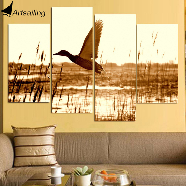 HD Printed 4 piece canvas wall art duck flying lake Painting room ...