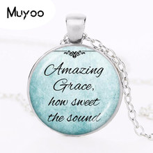 2017 new hot Christian Jewelry Inspirational Jesus Necklace Silver Chain Necklace Faith Bible Pendant Amazing Grace HZ1(China)