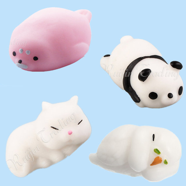New Cute Animals Mochi Squishy Seal Parrot Panda Cat Pussy Soft Squeeze Phone Straps Pendant Anti