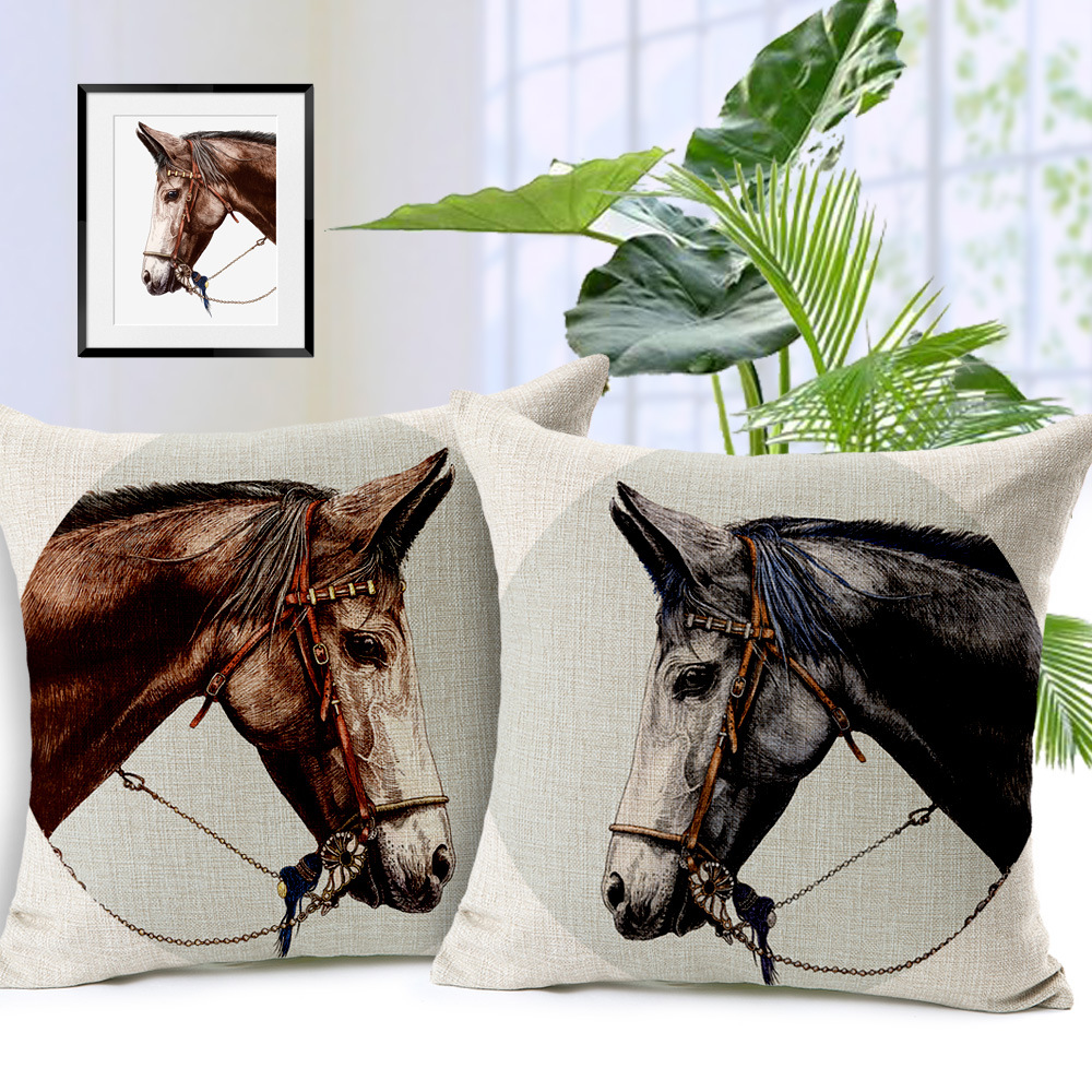 1 pcs 45x45cm elegant horse head pattern pillow case cover 3 designs cotton home linen back - Horses Head Pillow