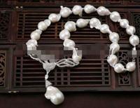 FREE SHIPPING>>>@@ > N2528 22mm white baroque keshi reborn freshwater pearl necklace swan pendant
