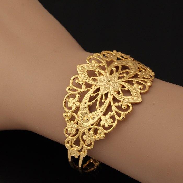 U7 Vintage Cuff Bracelet Gold Color Decorative Fancy Design ...