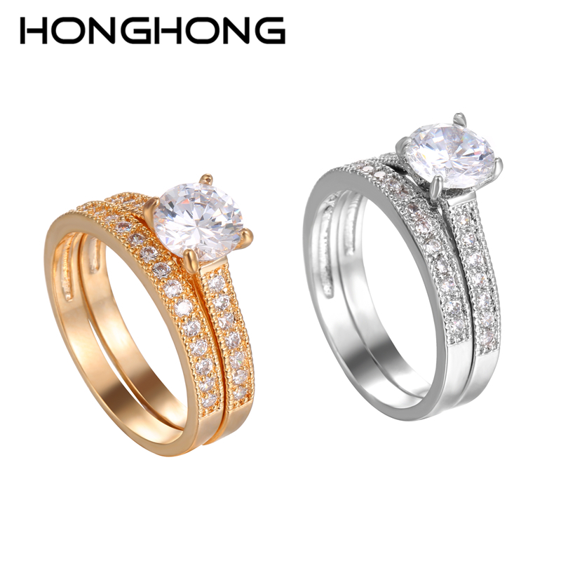 HONGHONG High Quality Cubic Zirconia Rings For Women Popular Double Romantic Rings Jewelry The Gift For Ladies&Gril # R81014