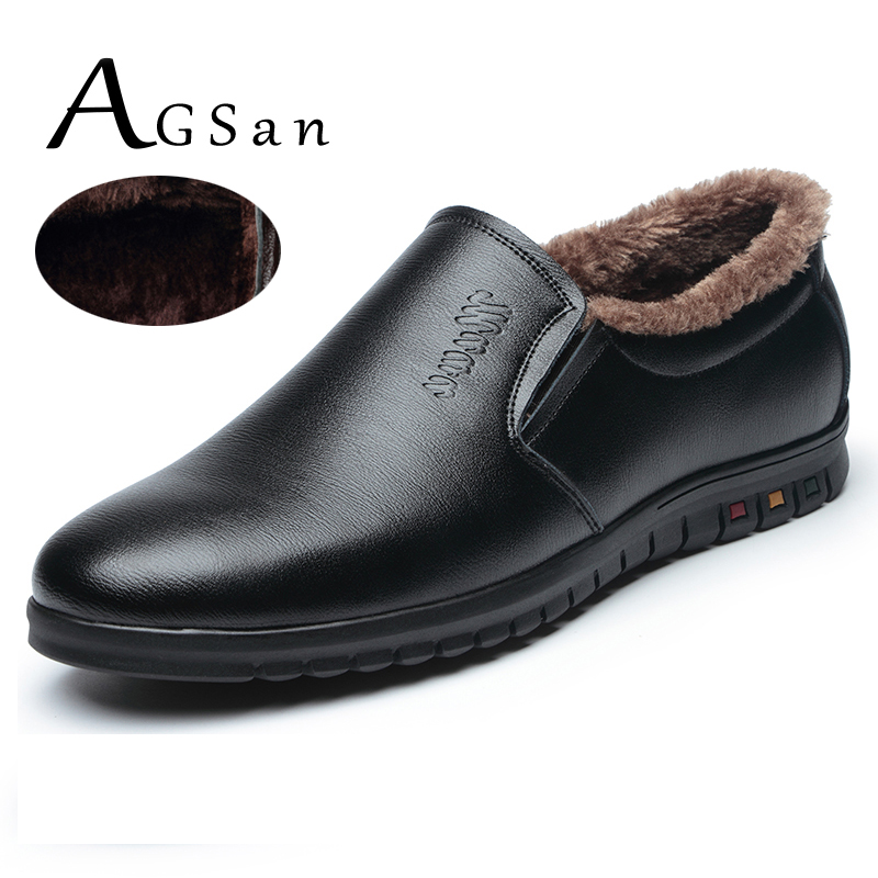 AGSan 2017 winter men PU leather loafers slip on warm driving shoes plush fur snow shoes handmade italian mens moccasins black pinsv moccasins mens shoes autumn driving casual shoes men italian loafers slip on leather shoes mens loafers size 38 47