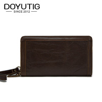 DOYUTIG Antique Men's Long Genuine Leather Day Clutch Bags Business Style Card Holder Middle Size Money Purse Male Clutches B052