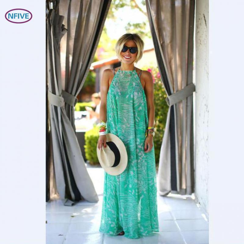 NFIVE Brand 2017 New Fashion Europe America Bohemia Mint Green Beach Women's Summer Dresses Loose Leisure Sleeveless Women Dress