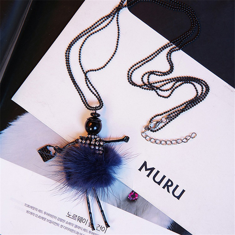 Women Winter Long Jersey Sweater Chain Fur Pompom Pendant Necklace Jewelry Gift