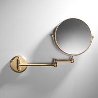 Modern Chrome Folding Wall Mounted Folding Makeup Double Side Magnification Mirror 8 Inch Brass Bathroom Vanity Mirror