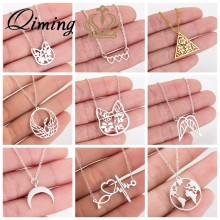 2019 Stainless Steel Women's Necklace Simple Love Cat Moon World Map Geometric Statement Jewelry Pendant Necklace Girls Gift(Hong Kong,China)