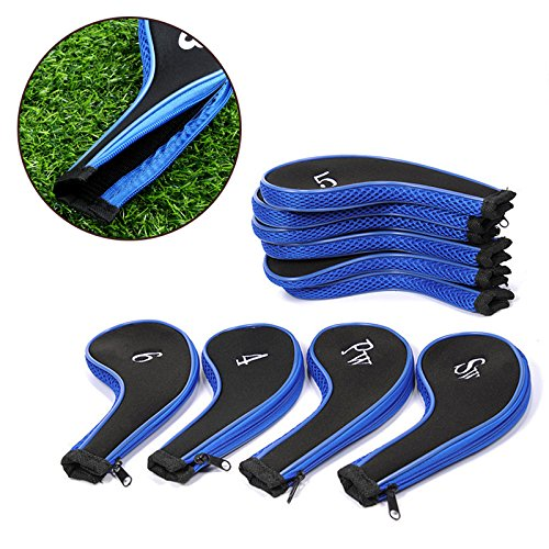 Free Shipping 10 pcs/set Golf Club Iron Putter Head Cover Protect Set HeadCovers Zipper design soft neoprene golf club iron putter head cover set black 11 piece