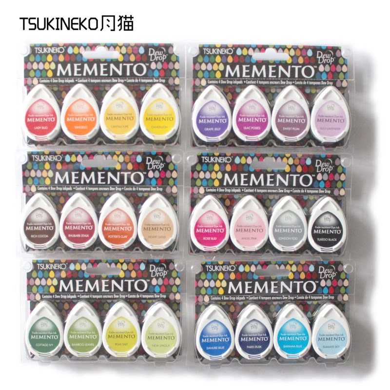 Tsukineko MEMENTO MD 4pcs water drop series of rubber stamp pad for paper craft free shipping-in Stamps from Home & Garden