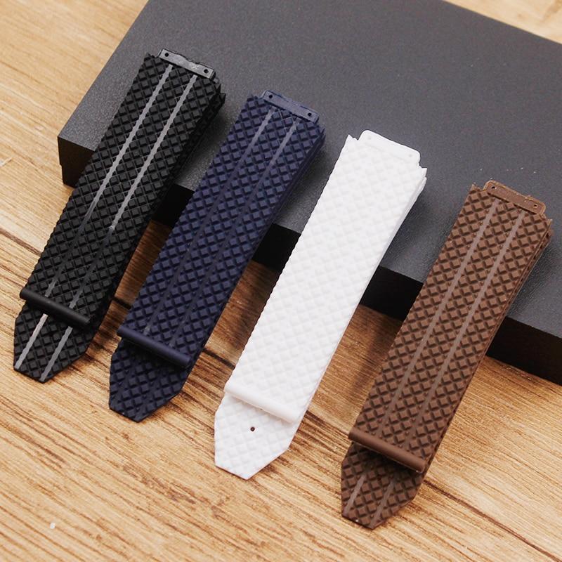 Acessórios de relógio para hublot pulseira de relógio de silicone pulseira de borracha grande bang pulseira masculina 25 mm * 17 mm cinta de marca superior masculina