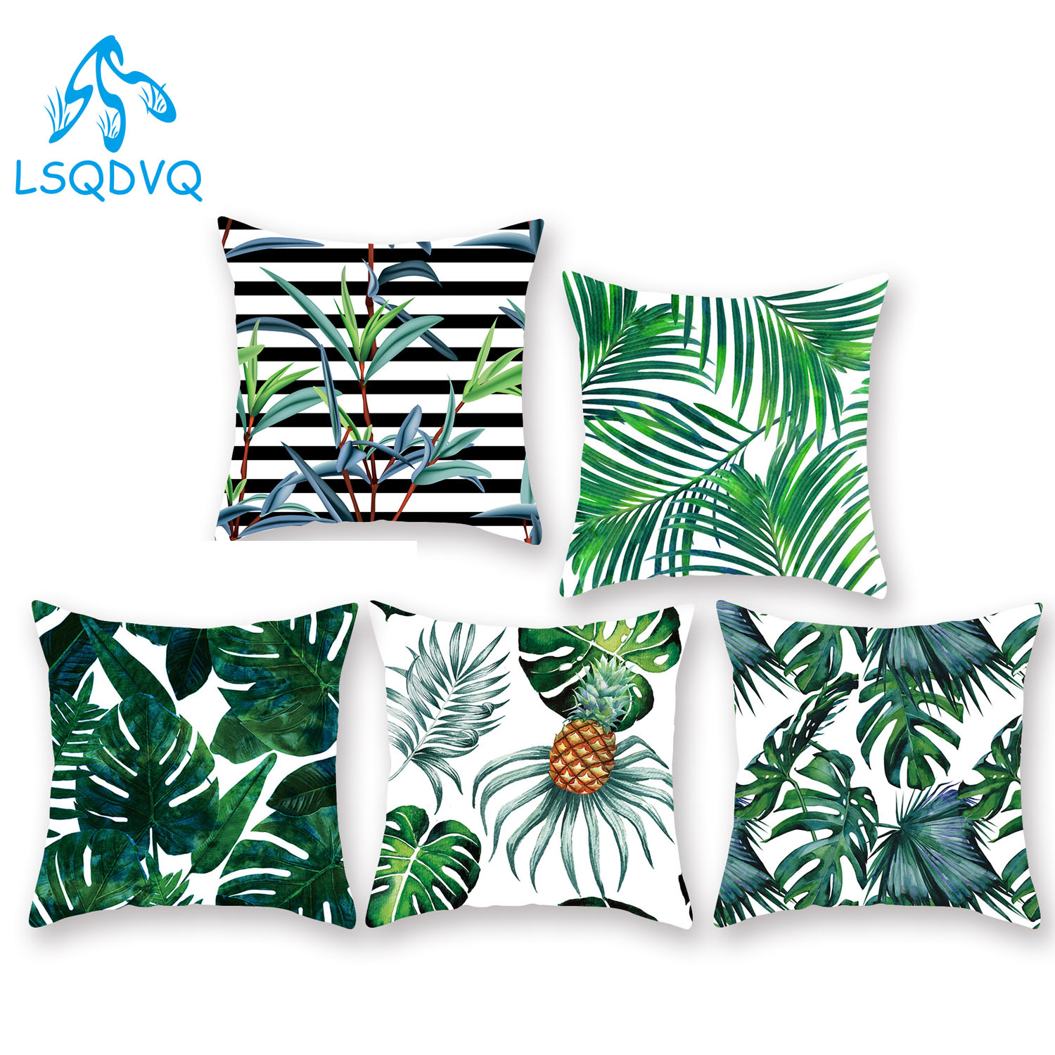 Diy Custom Tropical Green Leaves Decorative Throw Pillow Case 100% Polyester 45x45cm Cushion Cover For Sofa Car Home Decor