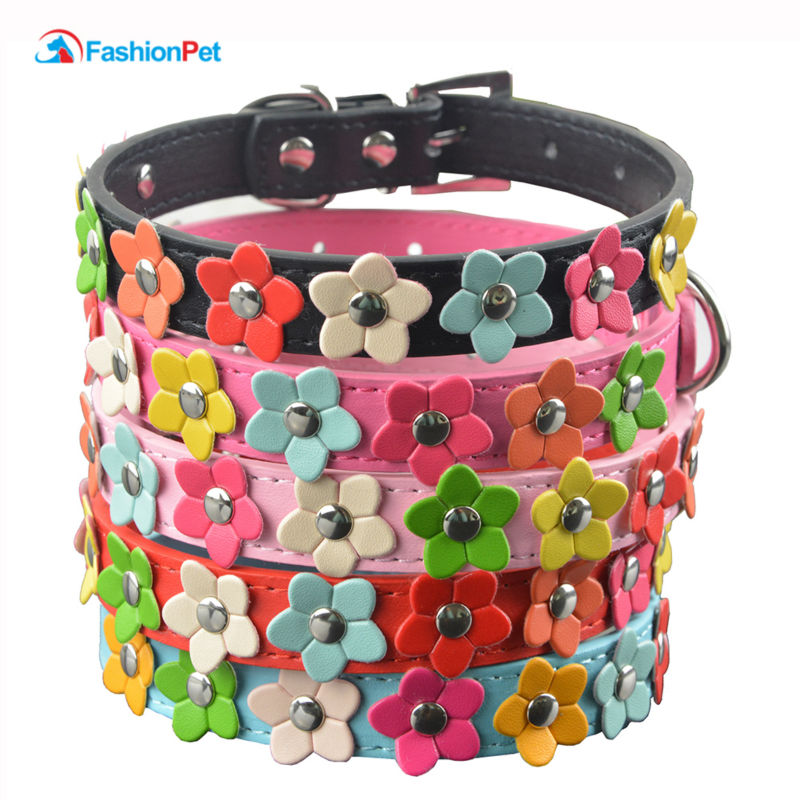 Fashion 6 Colors 4 Størrelser Leather Puppy Pet Dog Collar Cat Neck Strap Halskjede med Studded
