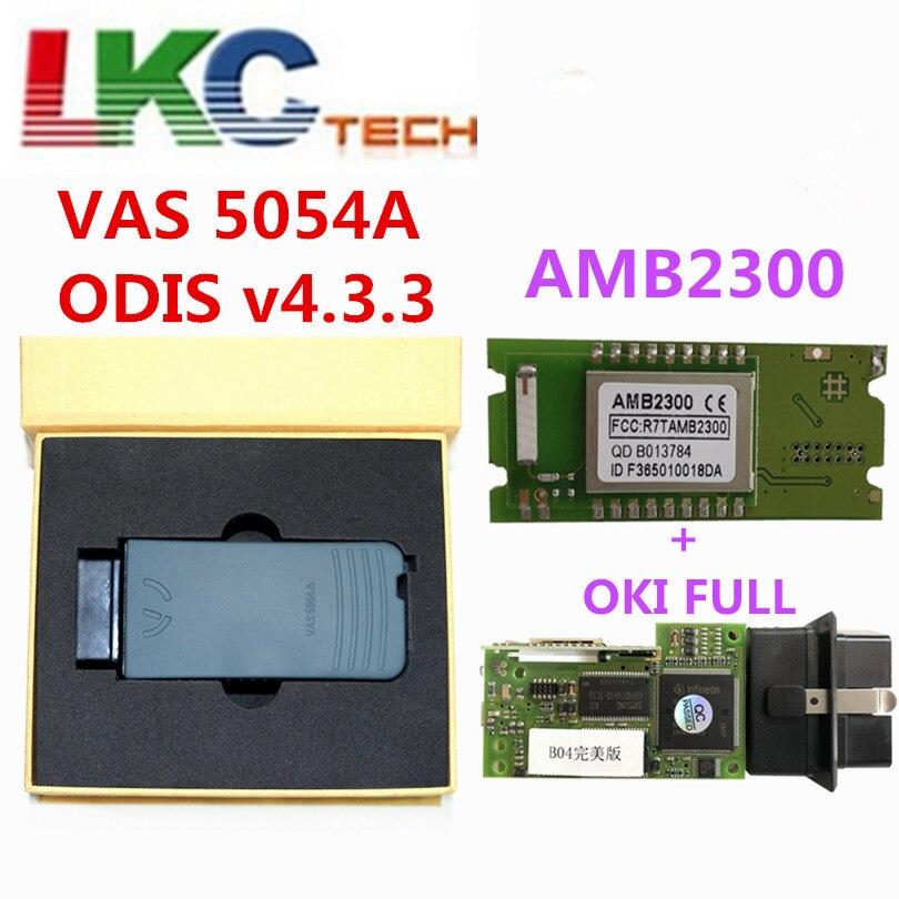 Parfait VAS 5054A avec OKI Plein Puce AMB2300 Bluetooth Adaptateur Soutien UDS OBD2 Voiture De Diagnostic détecteur Outil DHL LIVRAISON