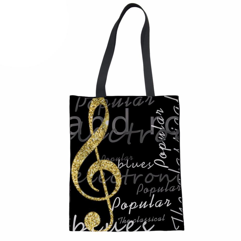 Noisydesigns Tote Women Handbags Piano Keys&Notes Print Shoulder Bag Ladies Reusable Shopping Beach Bag Girls Linen Handbag