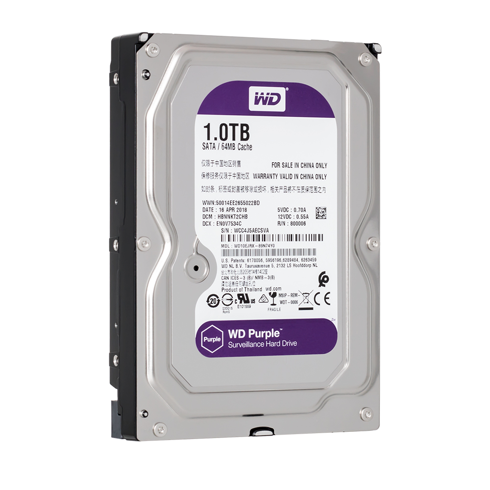WD Purple 1TB Surveillance Hard Drive Disk For Security System HDD 3.5 5400RPM SATA for DVR CCTV PC WD10EJRX 1tb 2 5 15mm height sata hard drive 5400rpm for pc tower server mini itx desktop machine warranty for 1 year