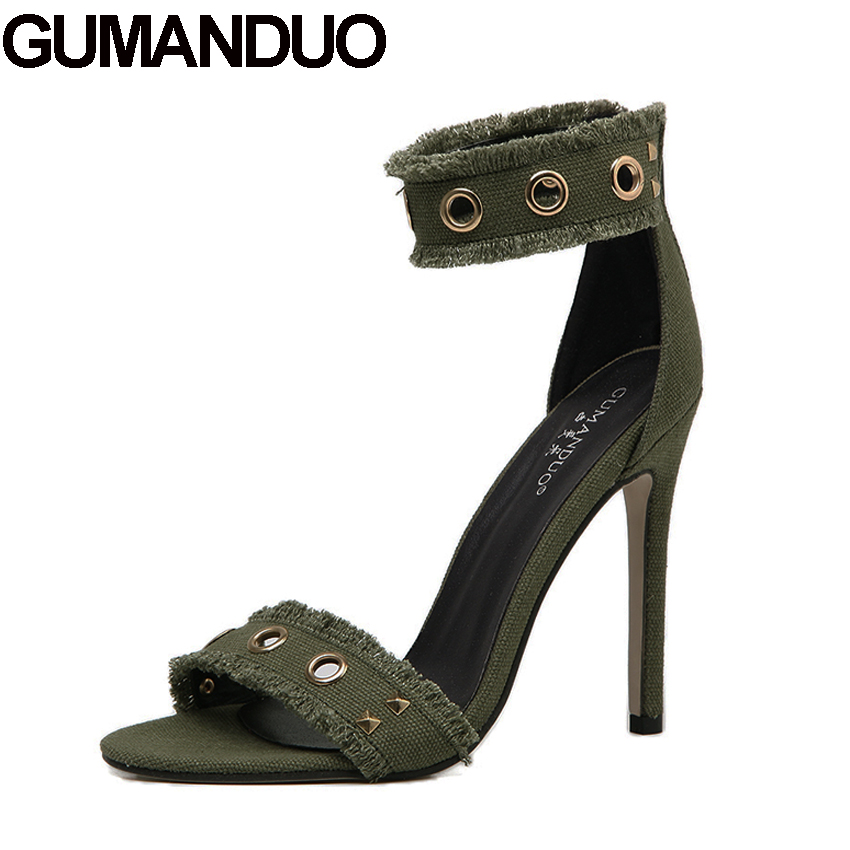 GUMANDUO military style summer women high heel pumps metal buckle studs fringe denim sandals ankle strap open toe shoes casual xiaying smile summer new woman sandals platform women pumps buckle strap high square heel fashion casual flock lady women shoes