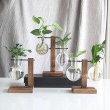 Гидропонная Настольная Ваза для растений винтажная стеклянная бонсай цветочный горшок настольная декоративная ваза с деревянным лотком L/T формы домашний декор