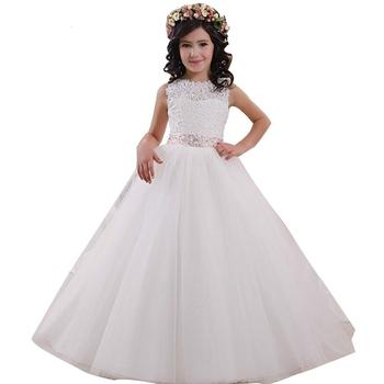 Ball Gown Tank Sleeveless Flower Girl Dresses Custom made Lace Long Tulle Children Party Gowns For Wedding Formal Occasion