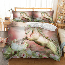 Horse Digital printed Drawn Floral Unicorn Bedding Set for comforter AU single queen king sizes duvet / quilt cover set bed