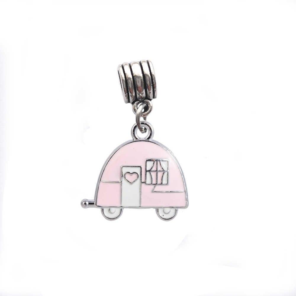 Myshape туристический прицеп подвеска из эмали для изготовления ювелирных изделий автомобильные бусины-домики подходят DIY браслет ожерелье подвеска автомобиль аксессуары 10 шт
