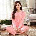 Пеньюар дома женщины пижамы установить 100% хлопок весна и осень женский пижамы свободного покроя костюм для женщин ночь костюм XNF515