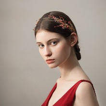 High Qualities Women Unique Red White Flower Headbands Handmade Hair Hairbands For Wedding Dress Accessories O365