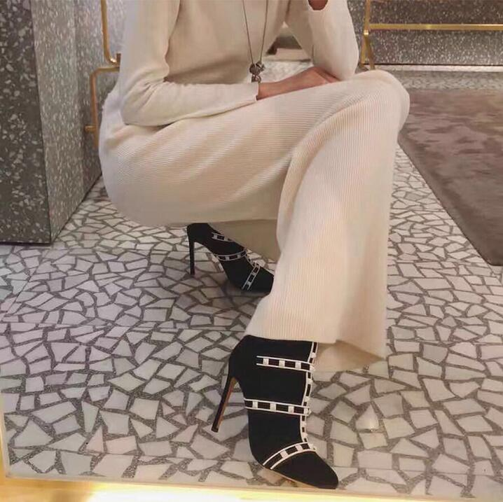 Hot Selling Black Suede Socks Ankle boots Pointed Toe Strap Studded Boots Women Thin Heels Ladies Autumen Dress Shoes in Ankle Boots from Shoes