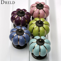 5Pcs Vintage Pumpkin Ceramic Door Knobs Cabinet Knobs And Handles For Furniture Drawer Cupboard Handles Pull