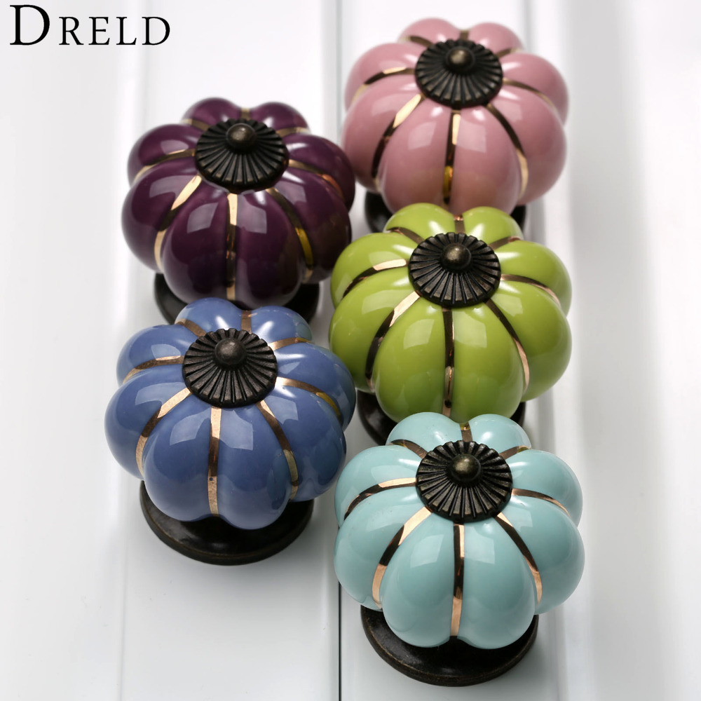 5Pcs Vintage Pumpkin Ceramic Door Knobs Cabinet Knobs and Handles for Furniture Drawer Cupboard Handles Pull Kitchen Pull Handle 8 color vintage retro ceramics drawer knob cabinet cupboard door pull handle furniture decor kitchen furniture knobs and handles