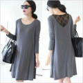 Spring summer maternity clothes Back lace Loose dress Big yards maternity clothing long sleeve