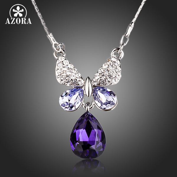 AZORA Noble Butterfly With Purple Stellux Austrian Crystal Water Drop Pendant Necklace TN0152 artificial crystal geometric water drop necklace
