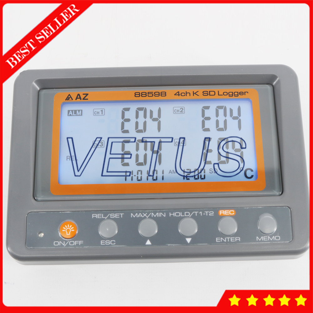 AZ88598 Multi channel Digital Thermometer 4 Channel K Type Thermocouple Temperature logger SD Card Data Logger