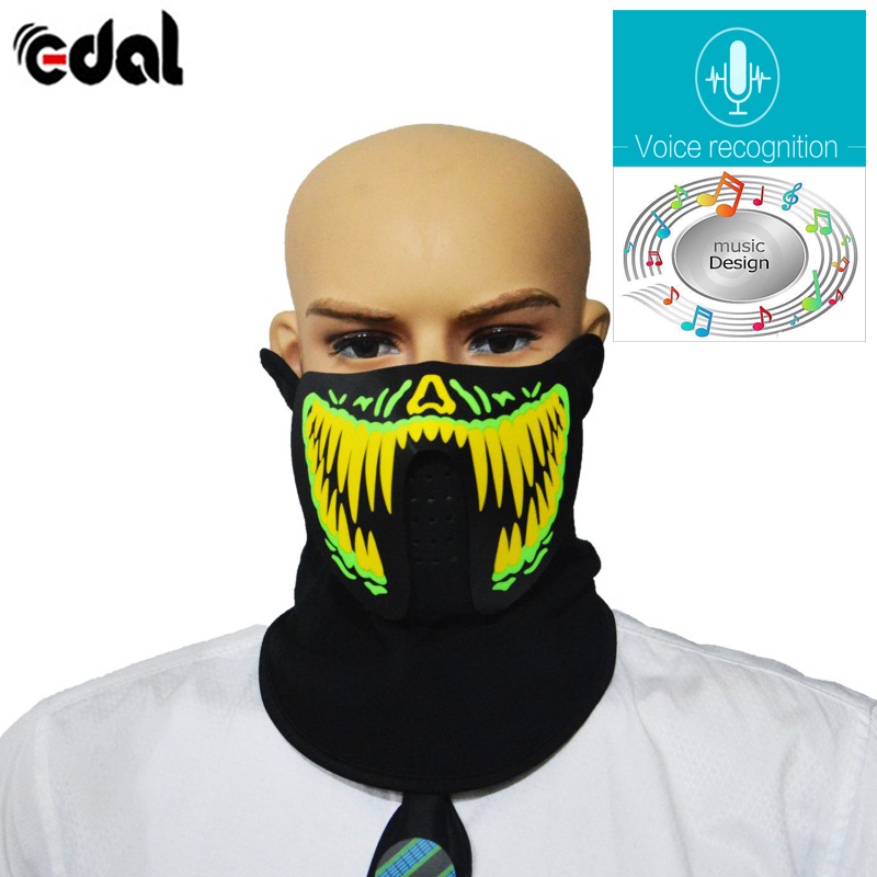 Led Voice-activated Music Mask Clothing Terror Masks Cold Light Helmet Fire Festival Party Glowing Dance Steady On Driver Smart Accessories