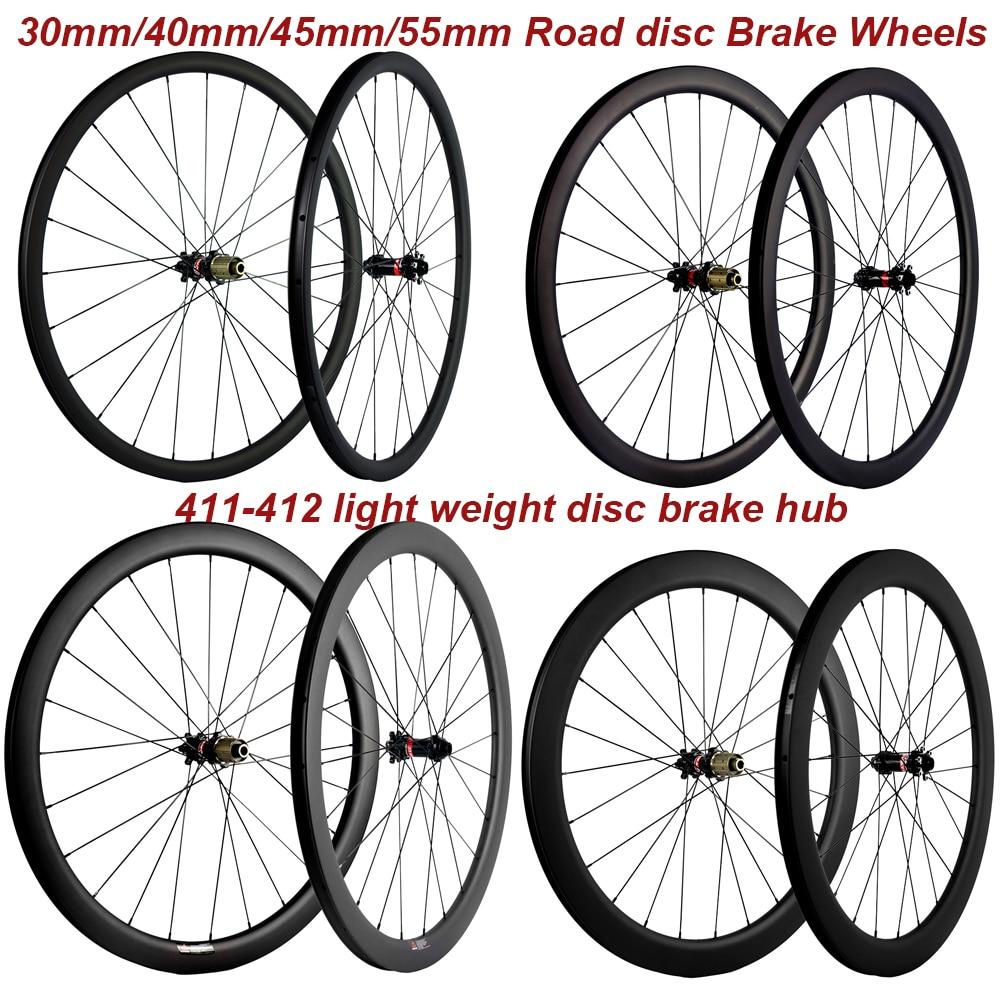 Factory Sales Carbon Bike Bicycle Disc Wheelset 30/40/45/55mm Carbon Clincher Disc Brake 6 Bolt Hubs Tubular Cyclocross Wheels