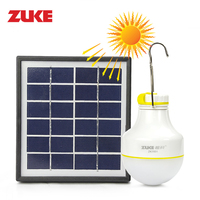 ZuKe Rechargeable 2W Solar LED Bulb Lamp Water Resistance Camping Night Light Home Led Lantern with USB Power Bank Function