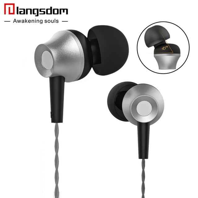 Langsdom M299 Metal Volume Control Earphone Stereo Headsets with Microphone  Earbuds for Phone fone de ouvido