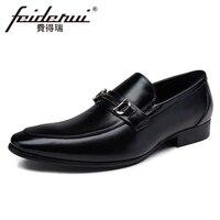 New Genuine Leather Men S Italian Designer Loafers Pointed Toe Slip On Handmade Man Height Increasing