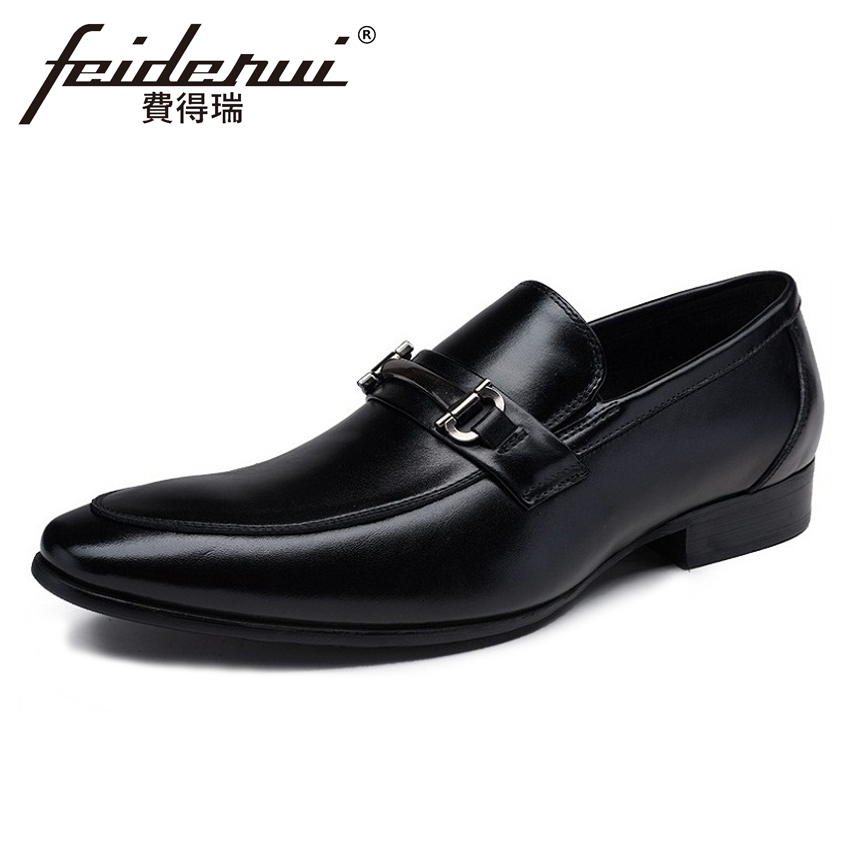 New Genuine Leather Men's Italian Designer Loafers Pointed Toe Slip on Handmade Man Height Increasing Casual Shoes YMX291 high end breathable men casual shoes loafers genuine leather lace up rubber handmade slip on sewing lazy shoes italian designer