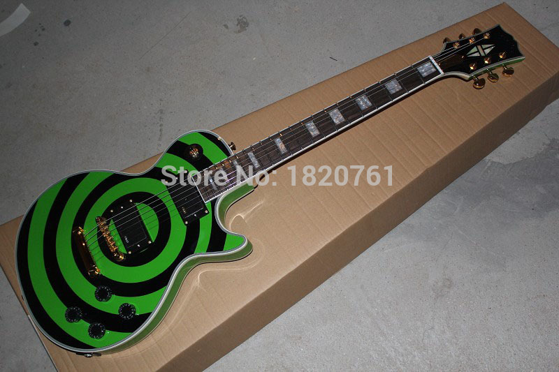 все цены на  Free shipping Factory Price selling 6 Strings EMG pick-up G-LP Zakk Wylde Bullseye Green & black Circle Electric Guitar   140412  в интернете