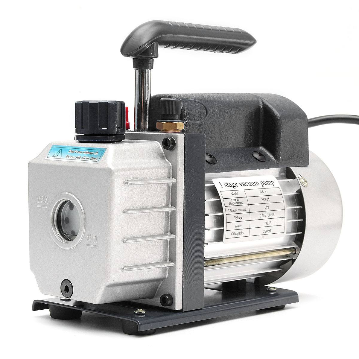 220V Single  Vacuum Pump Rotary Vane 3CFM 1/4HP Deep HVAC AC Air Tool Vacuum Pump Refrigeration Repair Tools