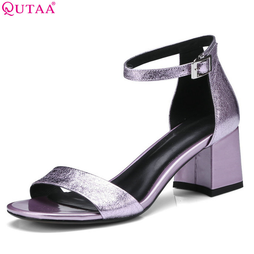 QUTAA 2018 Women Sandals Sheep Skin Women Shoes Platform Casual Westrn Style Square High Heel Peep Toe Women Sandals Size 34-42 qutaa 2018 women sandals pu leather fashion square high heel women shoes casual black square toe ladies sandals size 34 42