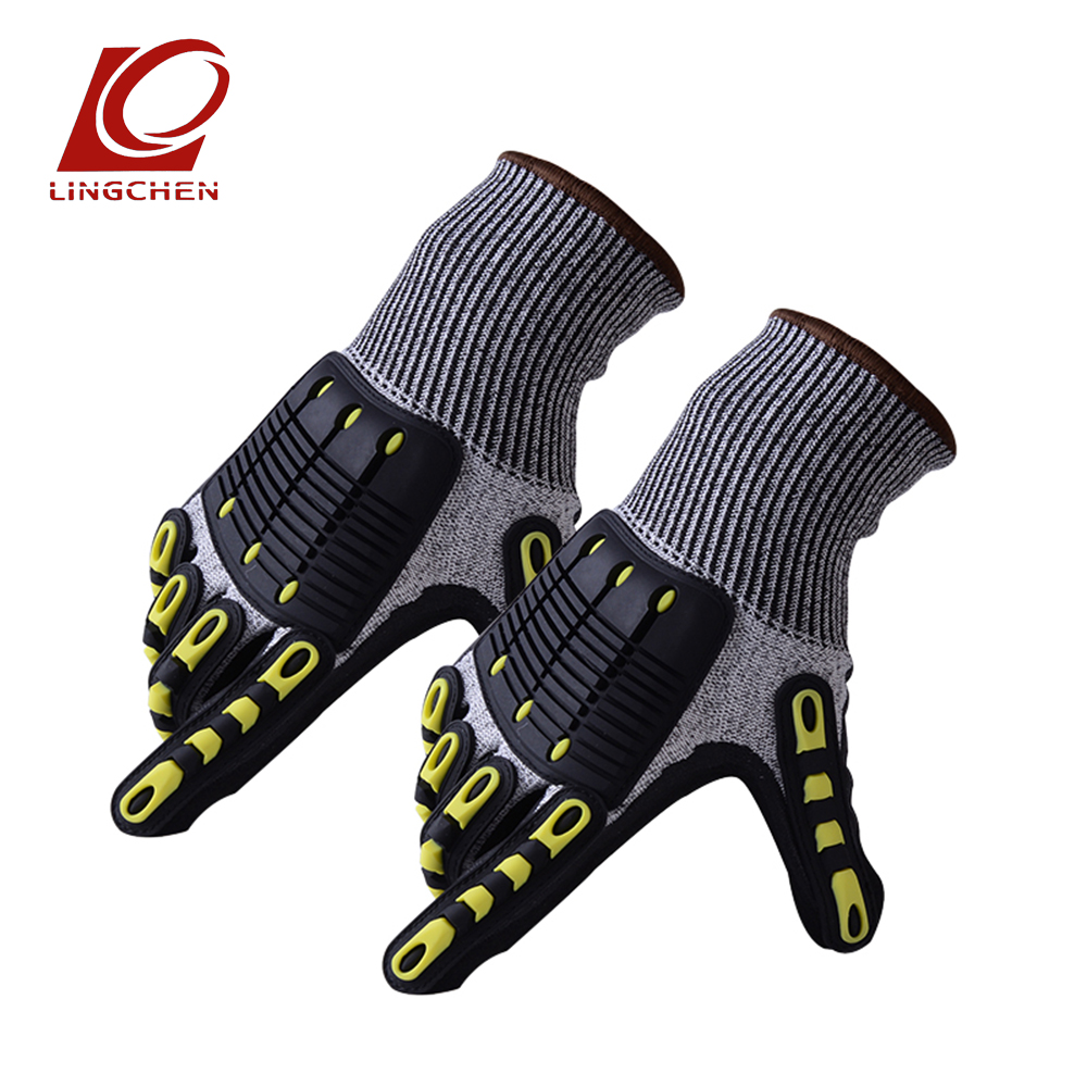 (1 Pair) TPR Tactical Working Cut-resistant Anti Abrasion Safety Gloves Self-defense Riding Gloves Supply