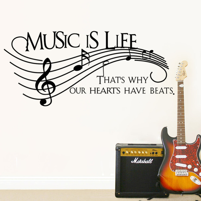 Creative Note Music Is Life Home Decal Wall Sticker Removable Wedding Decoration Living Room Decor