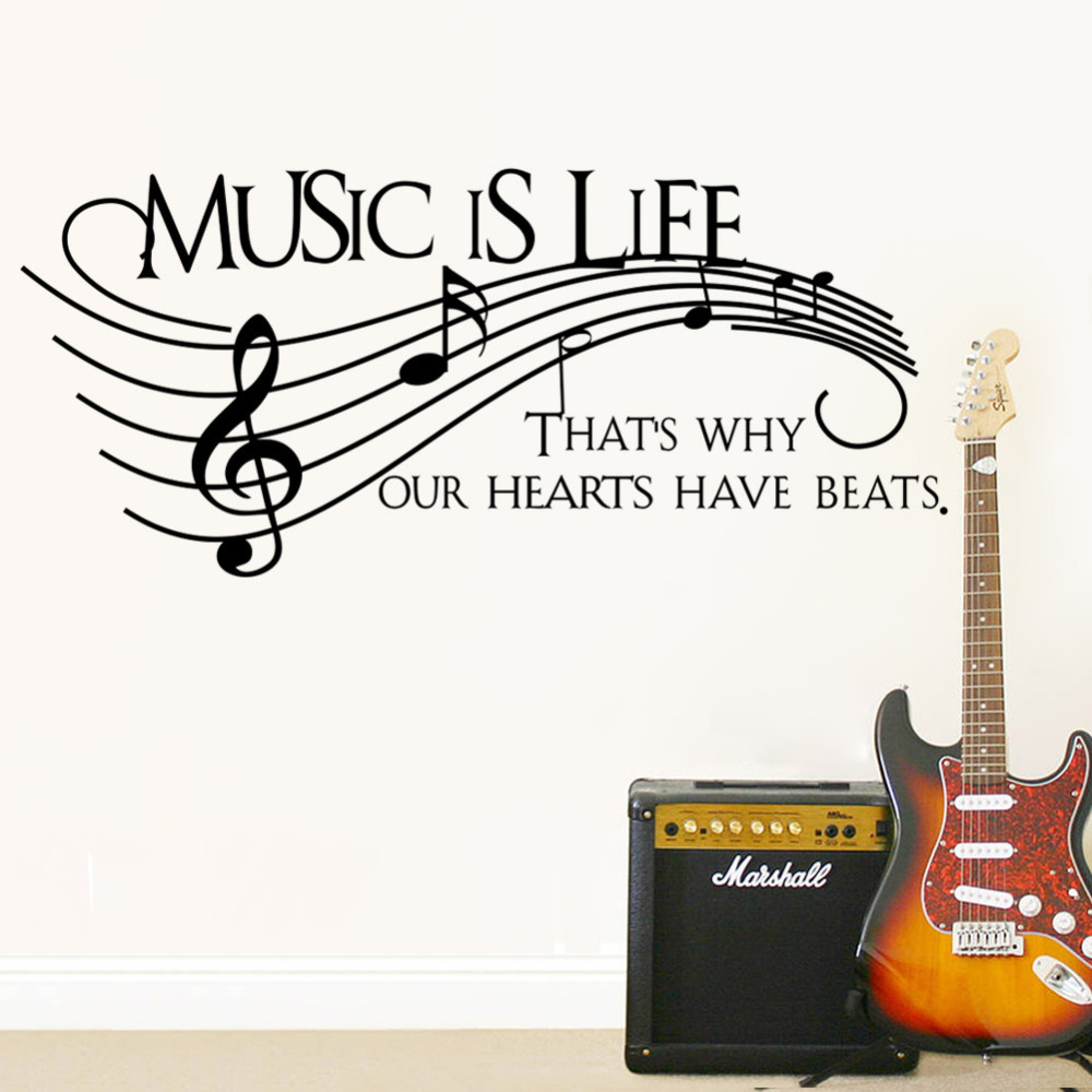 Creative Note Music Is Life Home Decal Wall Sticker Wedding Decoration Living Room Decor Music Party