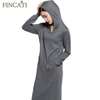 Autumn Winter Dresses Women 2018 New Cashmere Wool Blending Two Pockets Hooded Long Slim Soft Femme Dress Vestidos